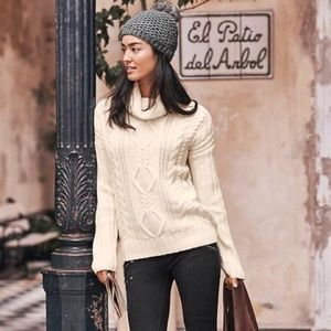 Athleta cable knit turtleneck sweater merino wool